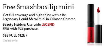 Free Smashbox lip mini | Use code LEGEND