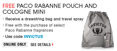Free Paco Rabanne Pouch and Cologne Mini